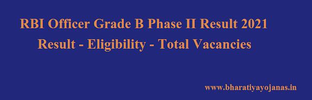 RBI Officer Grade B Phase II Result 2021