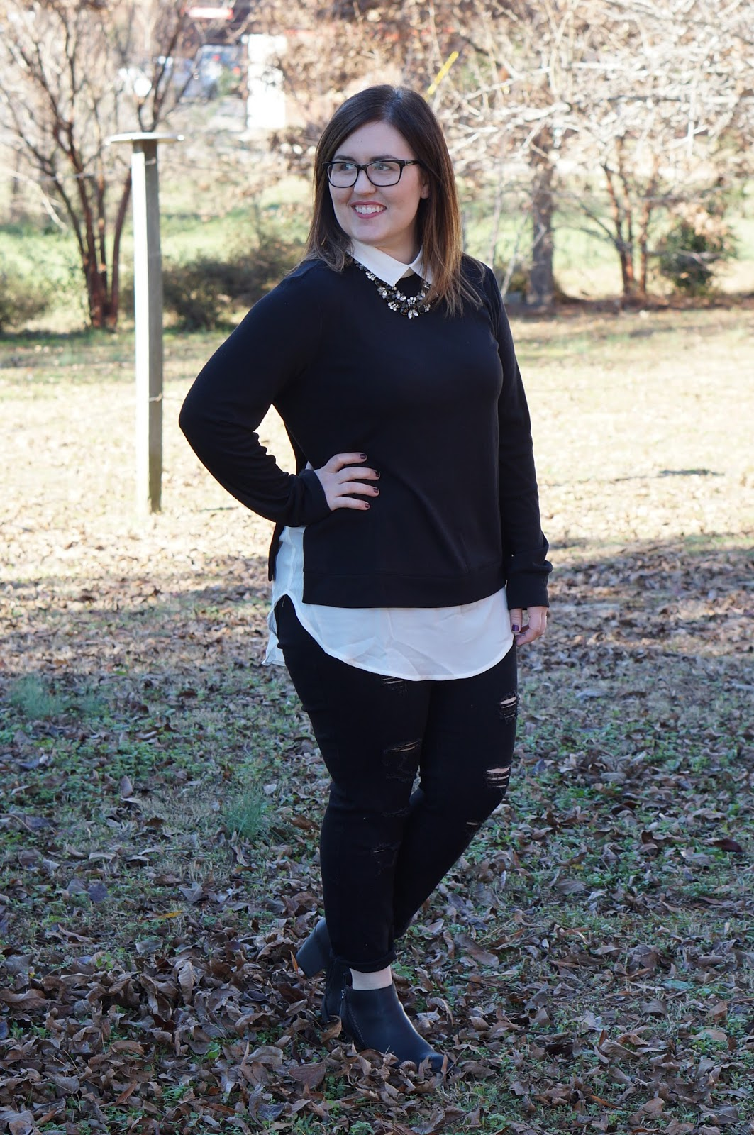 Rebecca Lately Shein Collar Top Old Navy Distressed Jeans Target Jameson Booties