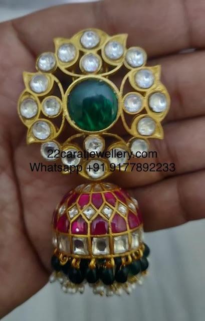 925 Silver Kundan Large Jhumkas