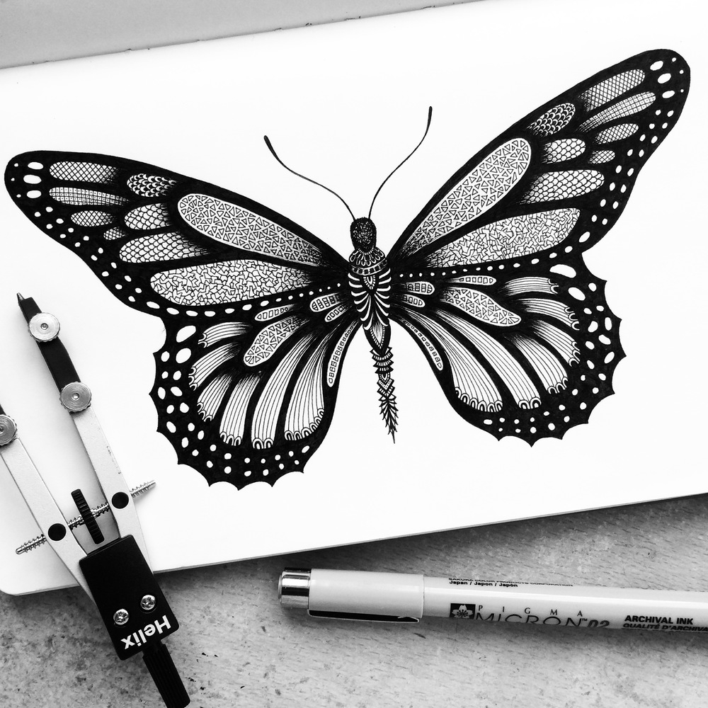 14-Monarch-Pavneet-SembhiSelf-taught-Artist-Creates-Intricate-and-Detailed-Drawings-www-designstack-co