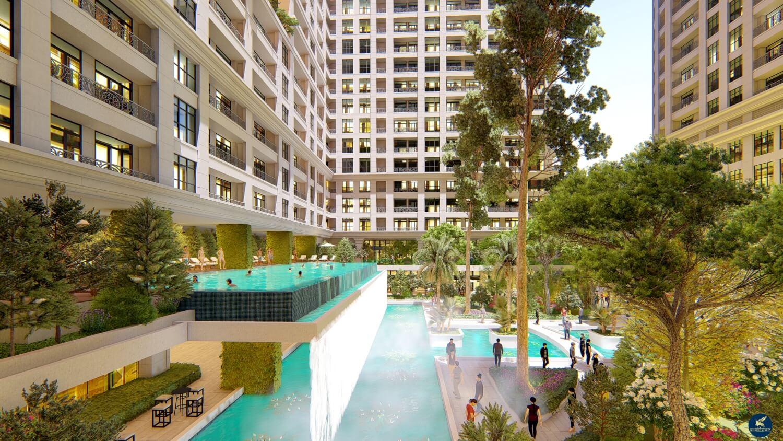 Bể bơi thác tràn nghệ thuật của dự án Sunshine Garden Minh Khai