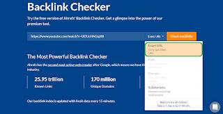choose exact url when check youtube video backlinks