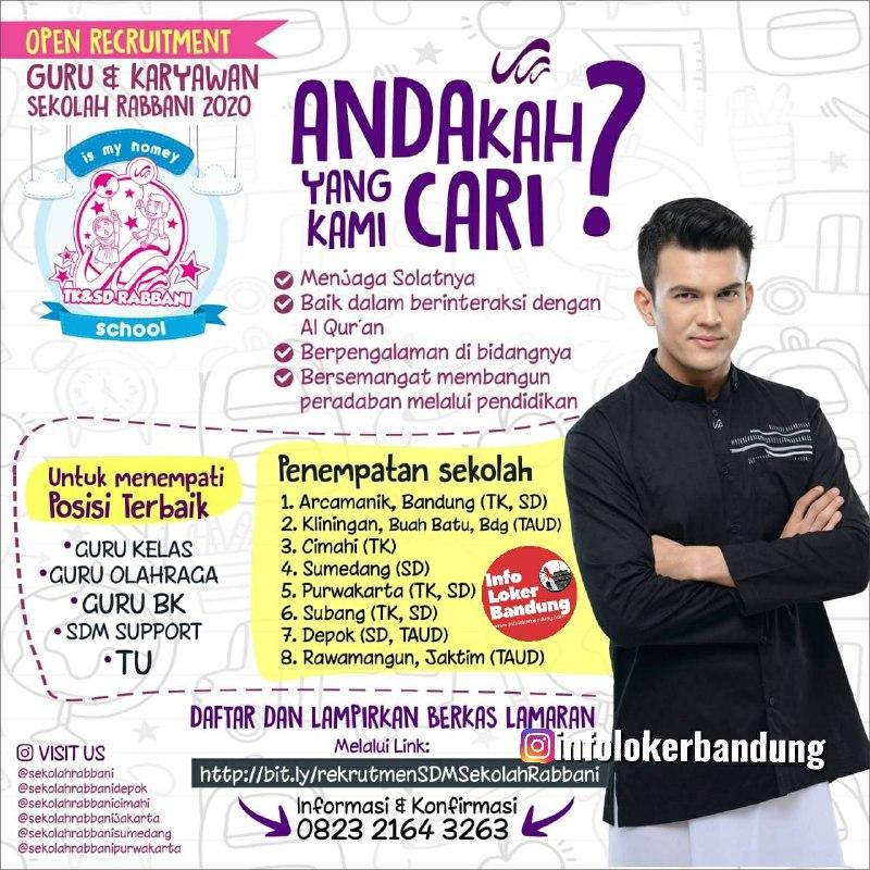 Lowongan Kerja Guru dan Karyawan Sekolah Rabbani Bandung Maret 2020