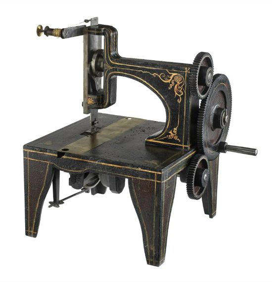 Singer sewing machine patent model 1851 - side
