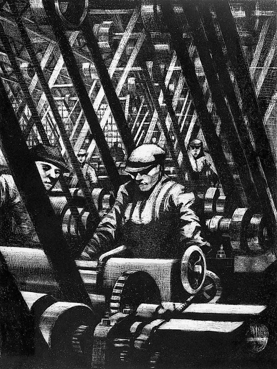 C.R.W. Nevinson art, men working in a factory with many belts