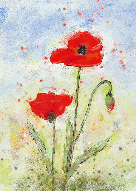 red summer poppies whimsical easy hang wall art