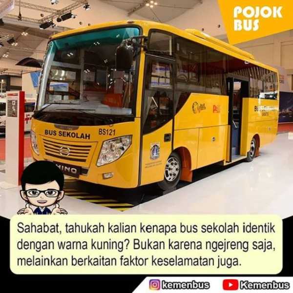 arti Warna Kuning bus sekolah