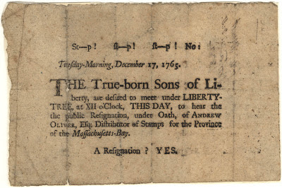 The Sons of Liberty Broadside - 1765
