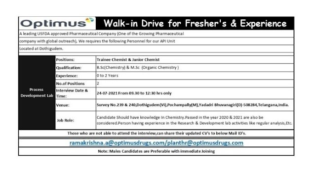 Optimus Pharma   Walk-in for Freshers and Expd on 24th Jul 2021