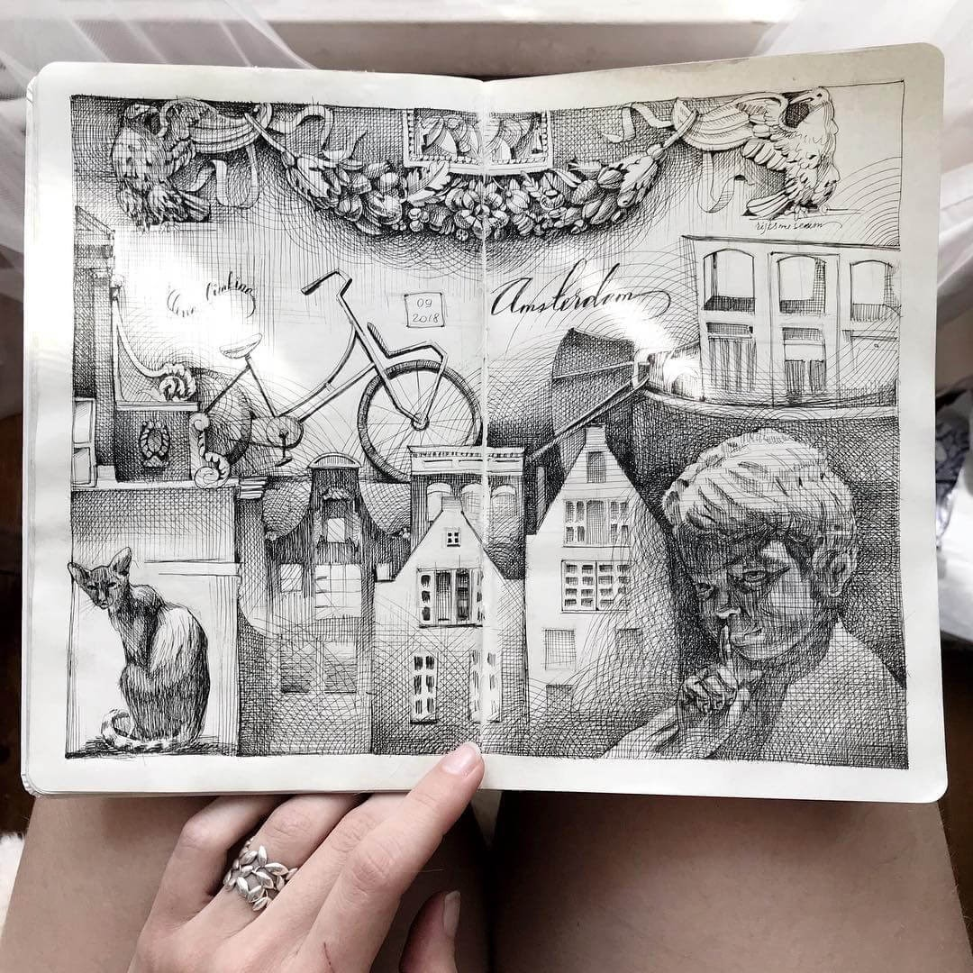 07-Architecture-and-a-Child-Lena-Limkina-Intricate-Moleskine-Drawings-with-Cats-www-designstack-co