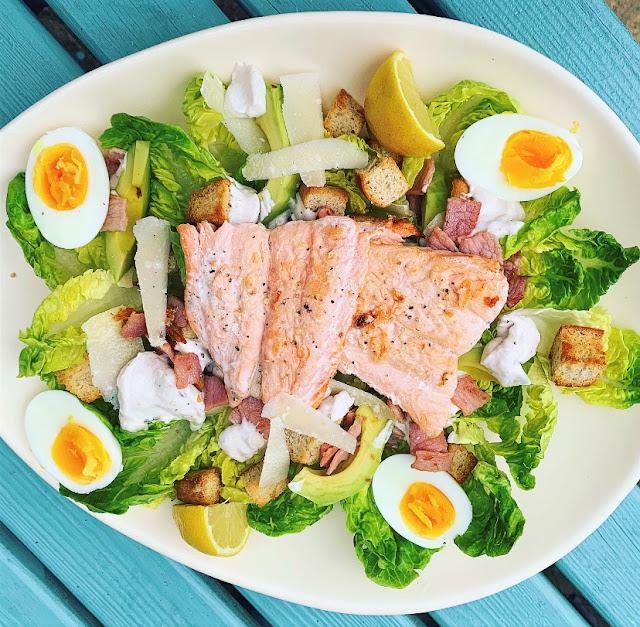 Salmon & Avocado Caesar Salad