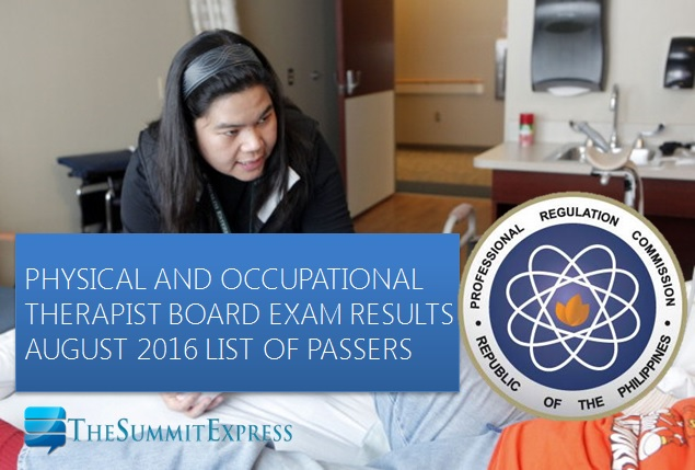 August 2016 Physical, Occupational Therapist (PT-OT) board exam results