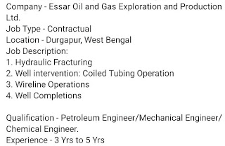 Essar Oil and Gas Exploration and Production Ltd. Job Vacancy For BE / B.Tech / Diploma in Durgapur, West Bengal