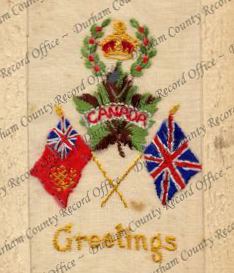 Embroidered postcard of Canadian and British flags, with a maple leaf (D/DLI 7/913/178)
