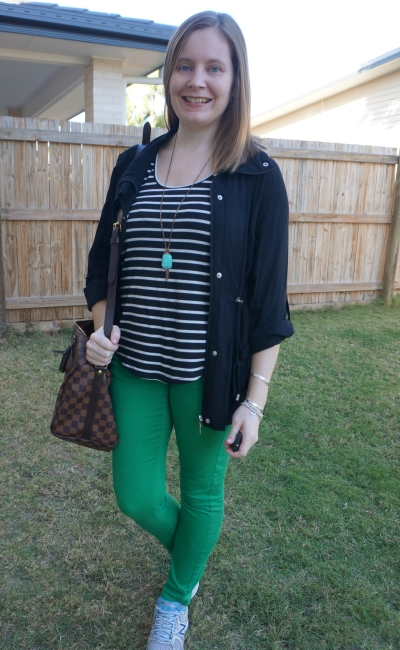 black utility jacket drawstring waist with stripe tank green skinny jeans sneakers | away from blue