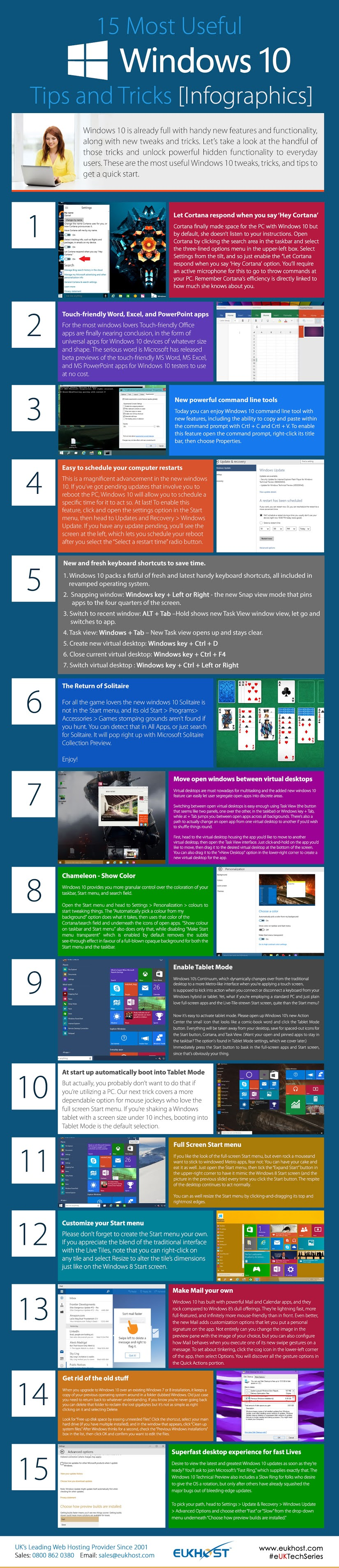15 Most Useful Windows 10 Tips and Tricks #infographic #Window #Windows10 #infographics #Windows10 Tips #Windows Tricks