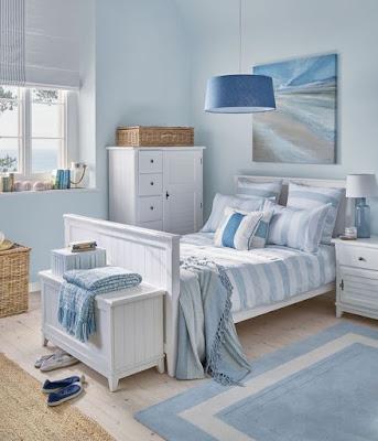 desain Kamar Warna Biru Soft Yang minimalis full biru