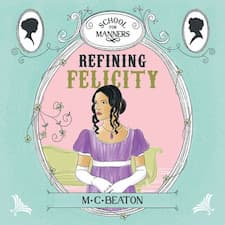 Audiobook cover for Refining Felicity. A dark haired lady in a purple dress.