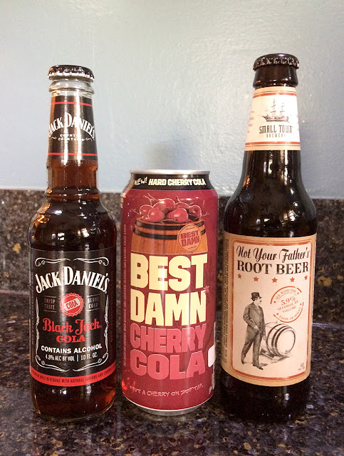 Jack Daniel's Black Jack Cola, Best Damn Cherry Cola, and Not Your Father's Hard Root Beer
