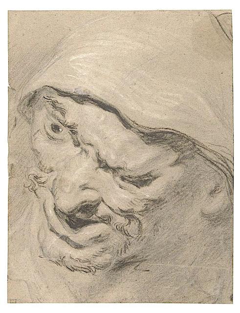 Peter Paul Rubens (1577-1640) Tête masculine Craie noire et carie blanche sur papier, 264 × 203 mm. Rijksmuseum, Amsterdam.