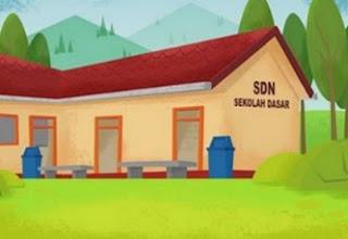 gambar ilustrasi bangunan sekolah