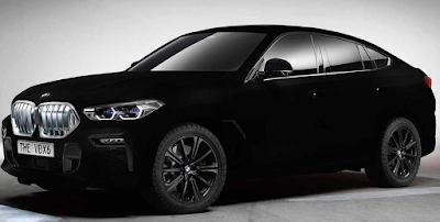 New BMW X6 as a impressive display car - apple's first vehicle in Vantablack
