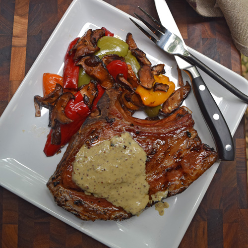 Grilled Pork Chops with Knob Creek® Bourbon Mustard Sauce on the Oklahoma Joe's® Rider DLX