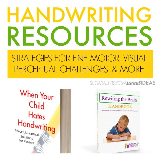 Handwriting resources for parents, teachers, therapists, and professionals who work with children with handwriting legibility challenges and sloppy writing.