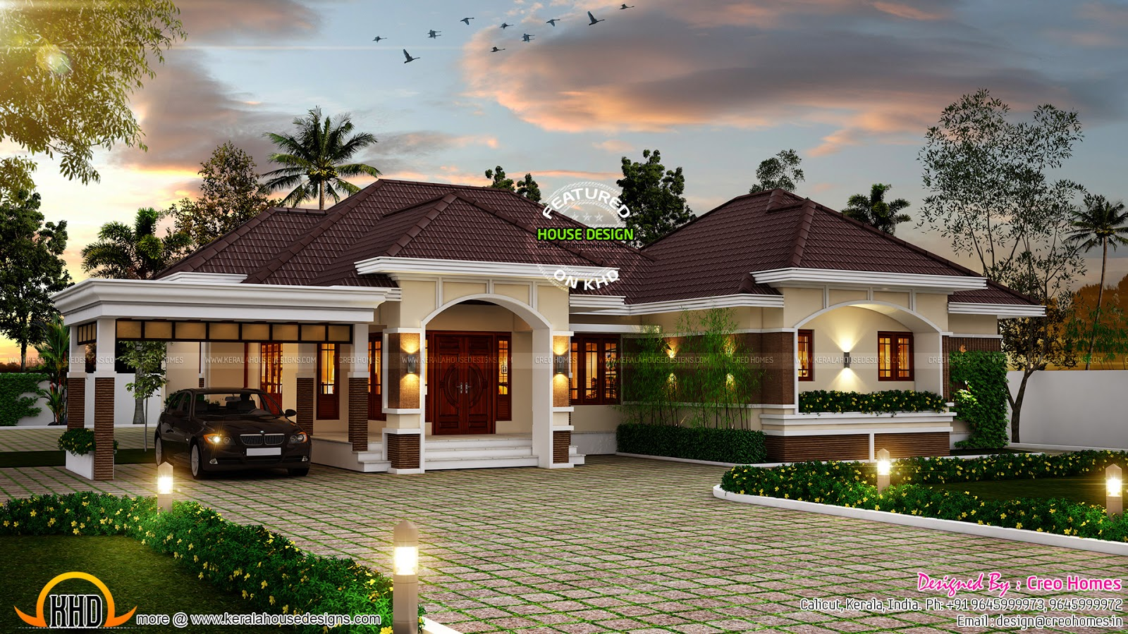 Outstanding bungalow in kerala kerala home design and for Beautiful bungalow designs
