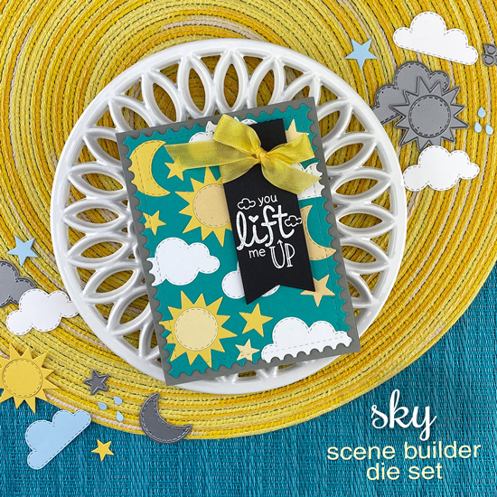 You lift Me Up Card by Jennifer Jackson | Sky Scene Builder Die Set, Uplifting Wishes Stamp Set, Framework Die SEt and Frames & Flags Die Set by Newton's Nook Designs #newtonsnook #handmade