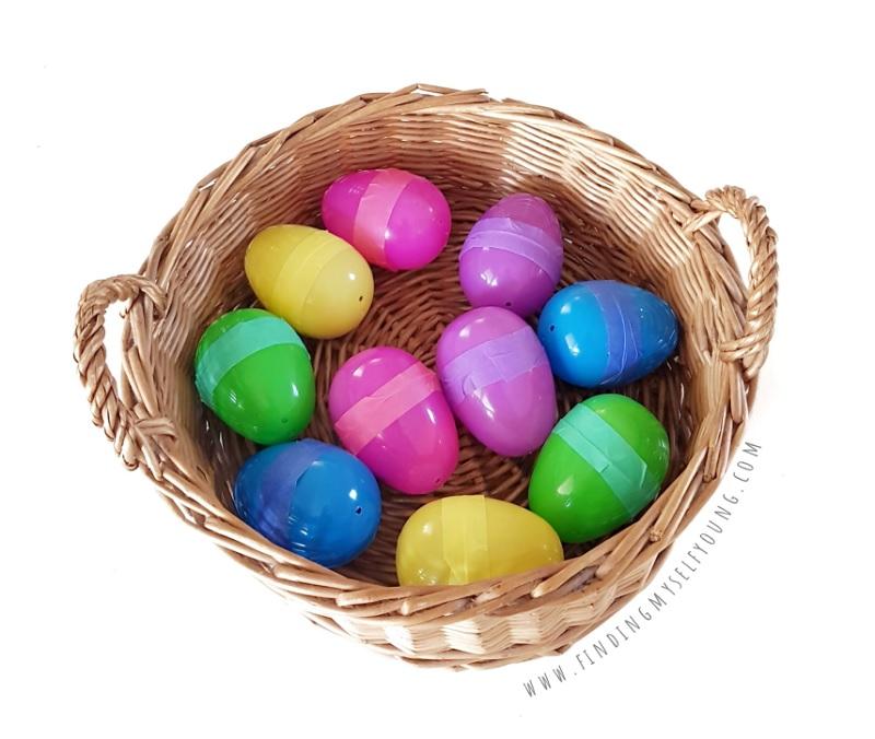 sensory musical egg shakers made from plastic easter eggs