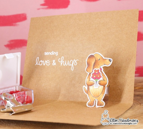 Dog pop-up card by Ellen Haxelmans | Sending Hugs Stamp Set by Newton's Nook Designs #newtonsnook #handmade