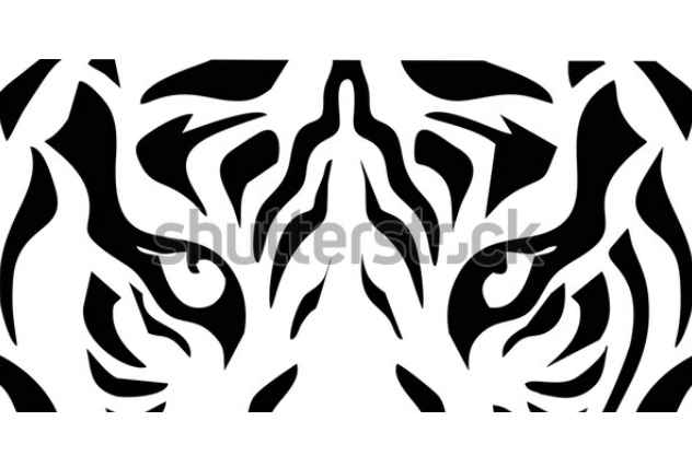 Tiger head silhouette, vector very simple eps 10