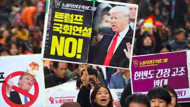 Surcoreanos protestan contra Trump por tensar crisis en península