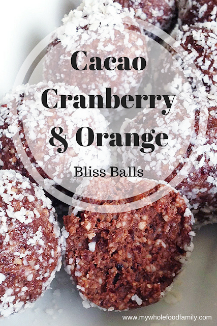 Cacao Cranberry and Wild Orange Bliss Balls - doTERRA recipe essential oils - www.mywholefoodfamily.com
