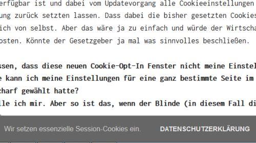 Hinweis auf Session-Cookie ohne die Möglichkeit den Banner auszublenden