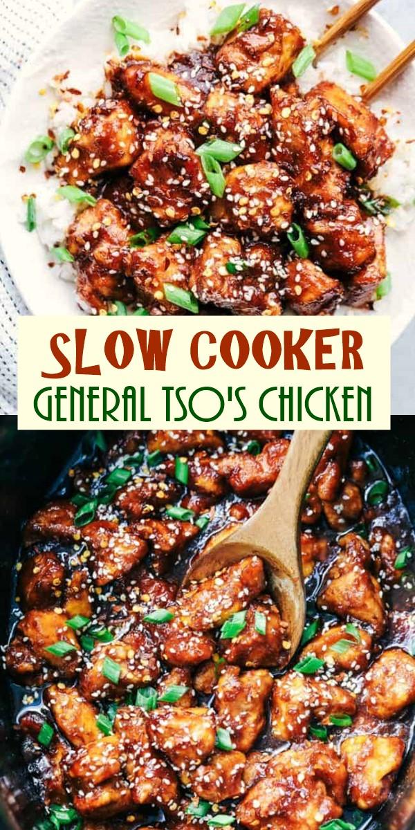 SLOW COOKER GENERAL TSO'S CHICKEN #Slowcooker