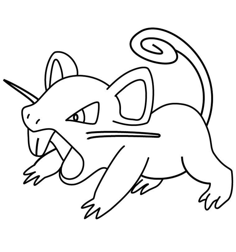 Rattata Pokemon Coloring Pages to Print - Free Pokemon Coloring Pages | 809x759