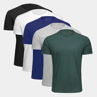 Kit Camiseta Básica c/ 5 Peças Masculina - Marinho e Branco