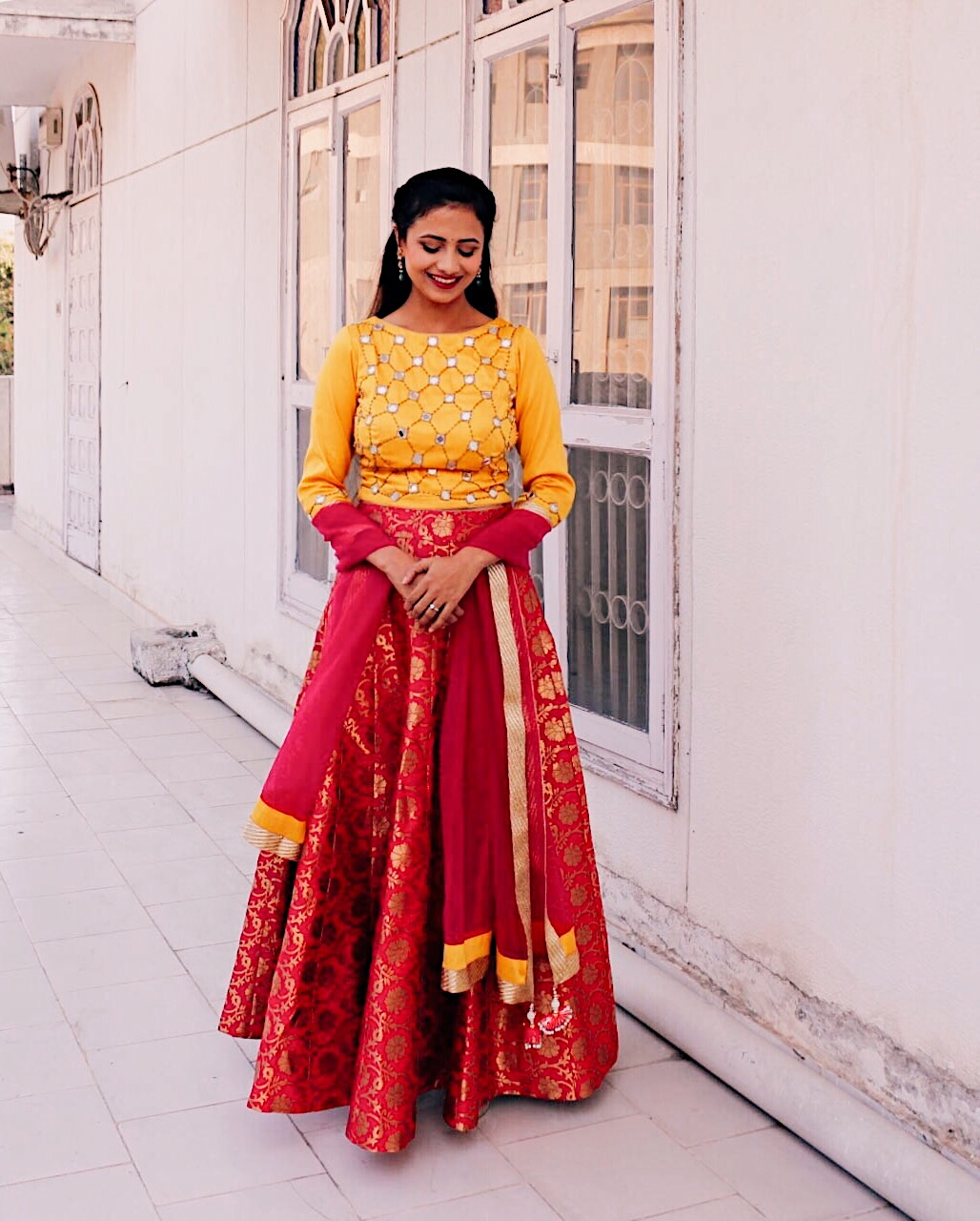Traditional Indian Pink And Yellow Lehnga Bridal Trending 2017