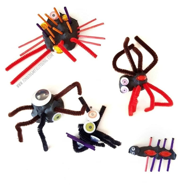 spiders made with playdough and loose parts