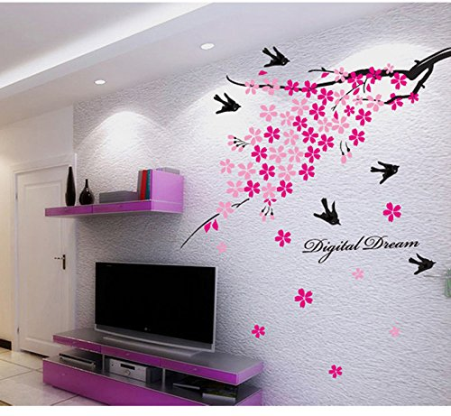 Easy Removable Wall Decal Branch Tree Pink Flowers Birds