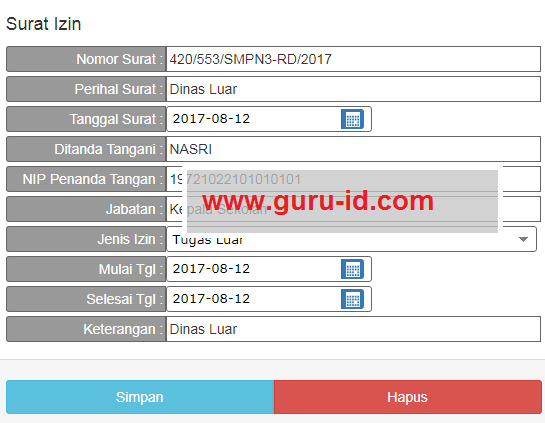 gambar cara pengisian input surat izin di bolos kehadiran guru