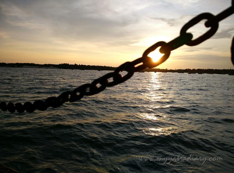 Sunset boat ride in Rameshwaram, Tamil Nadu.