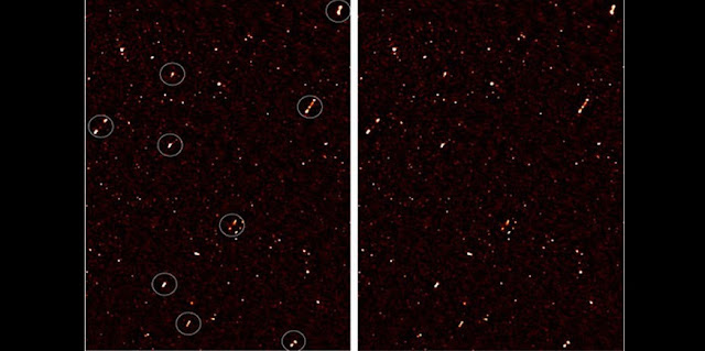 An image of the deep radio map covering the ELAIS-N1 region, with aligned galaxy jets. The image on the left has white circles around the aligned galaxies; the image on the right is without the circles. Credit: Prof Russ Taylor.