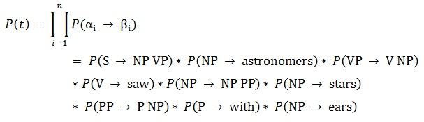 sample calculation of probability of a parse tree in PCFG