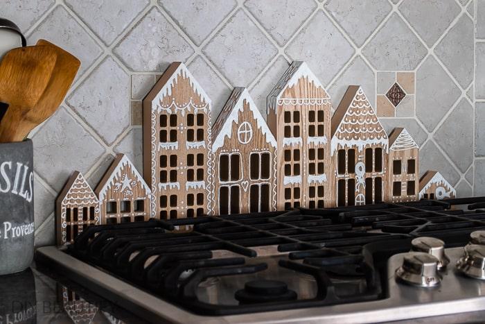 wood gingerbread house village