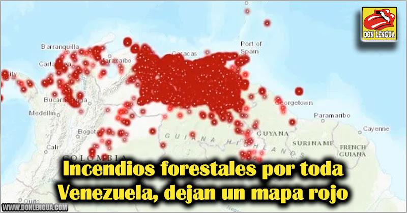 Incendios forestales por toda Venezuela dejan un mapa rojo