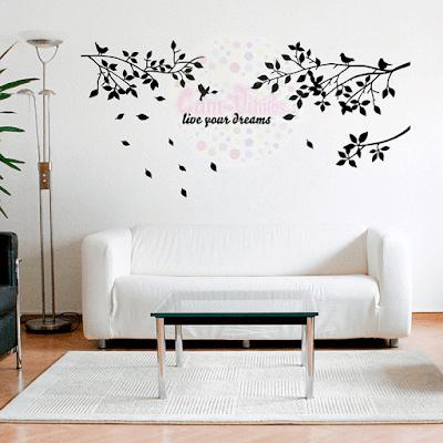 vinilo decorativo ramas pajaros frase