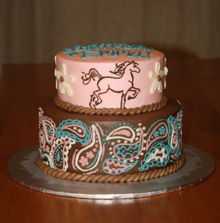 Party Cakes 2 Tier Western Horse Cake